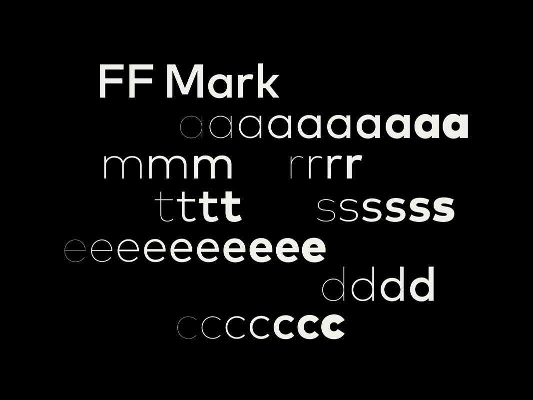 Použitý font FF Mark, navrhol Hannes von Döhren, Christoph Koeberlin a FontFont
