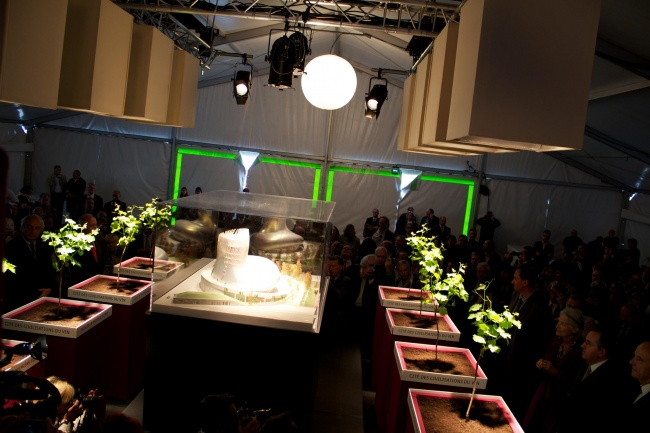 Okrem stálych expozícii budú k dispozícii 3 dočasné výstavy ročne. To by malo vzbudiť záujem tých, ktorí majú šťastie navštíviť toto miesto aspoň raz. Majitelia pripravili desiatky tematických miest pre návštevníkov. Na tejto fotke môžete vidieť prednáškovú sálu pre 250 osôb. Nachádzajú sa v nej ochutnávkové stanice, mini záhrada, štylizovaný vinič ku ktorému je pripojený aj tablet, ktorý Vám ukáže aký druh vína sa z neho vyrába a tiež aj ďalšie zaujímavé informácie.