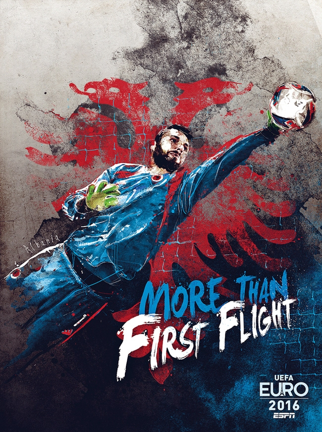 """Brankár Etrit Berisha sa stal tvárou Albánskej reprezentácie Albánsko sa kvalifikoval prvý krát, preto ich slogan znie """"Viac ako prvý let""""."""