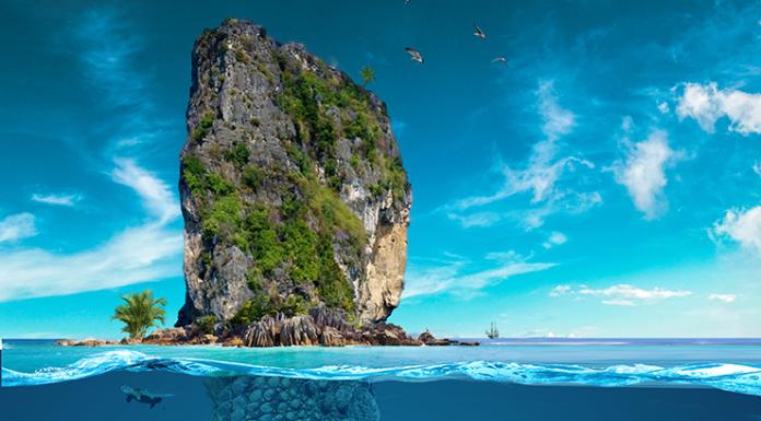 Photoshop - ostrov krokodil