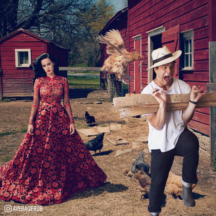 Kým sa Katy fotí pred stodolou, zvieratá na mňa útočia..